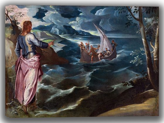 Tintoretto, Jacopo Robusti: Christ at the Sea of Galilee. Religious/Biblical Fine Art Canvas. Sizes: A4/A3/A2/A1 (004056)